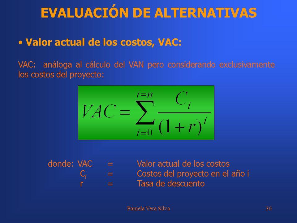 Pamela Vera Silva30 EVALUACIÓN DE ALTERNATIVAS Valor actual de los costos, VAC: VAC: análoga al cálculo del VAN pero considerando exclusivamente los c