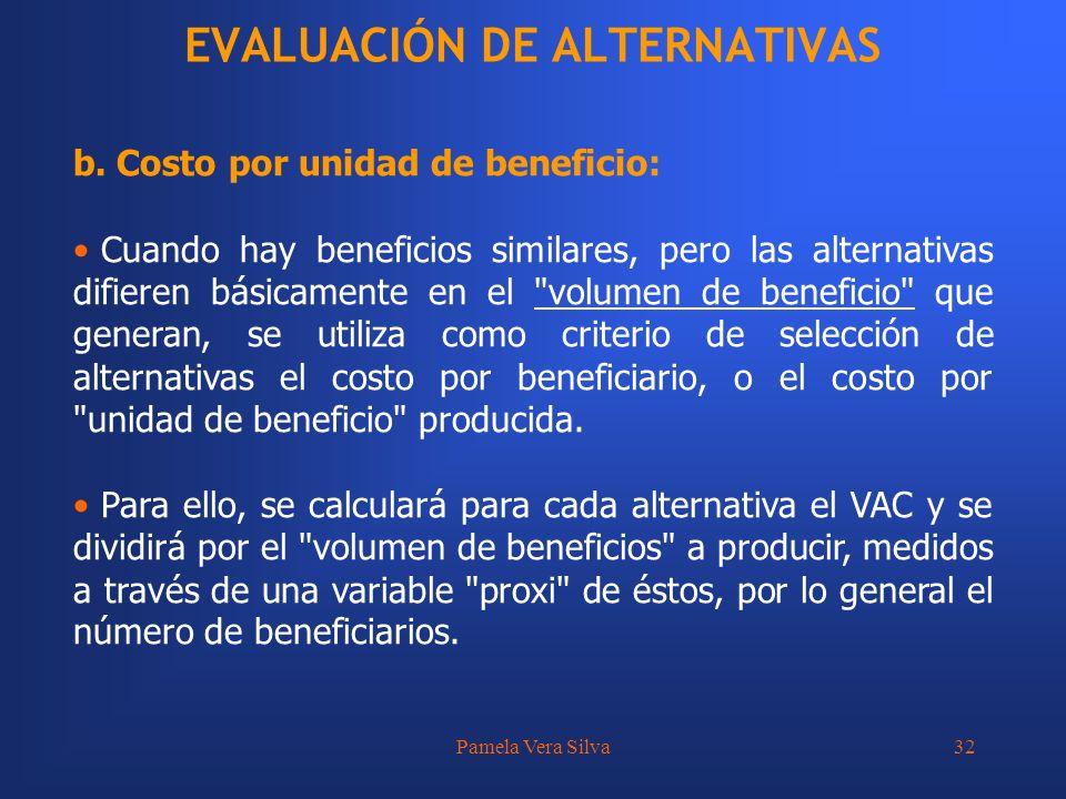 Pamela Vera Silva32 EVALUACIÓN DE ALTERNATIVAS b. Costo por unidad de beneficio: Cuando hay beneficios similares, pero las alternativas difieren básic