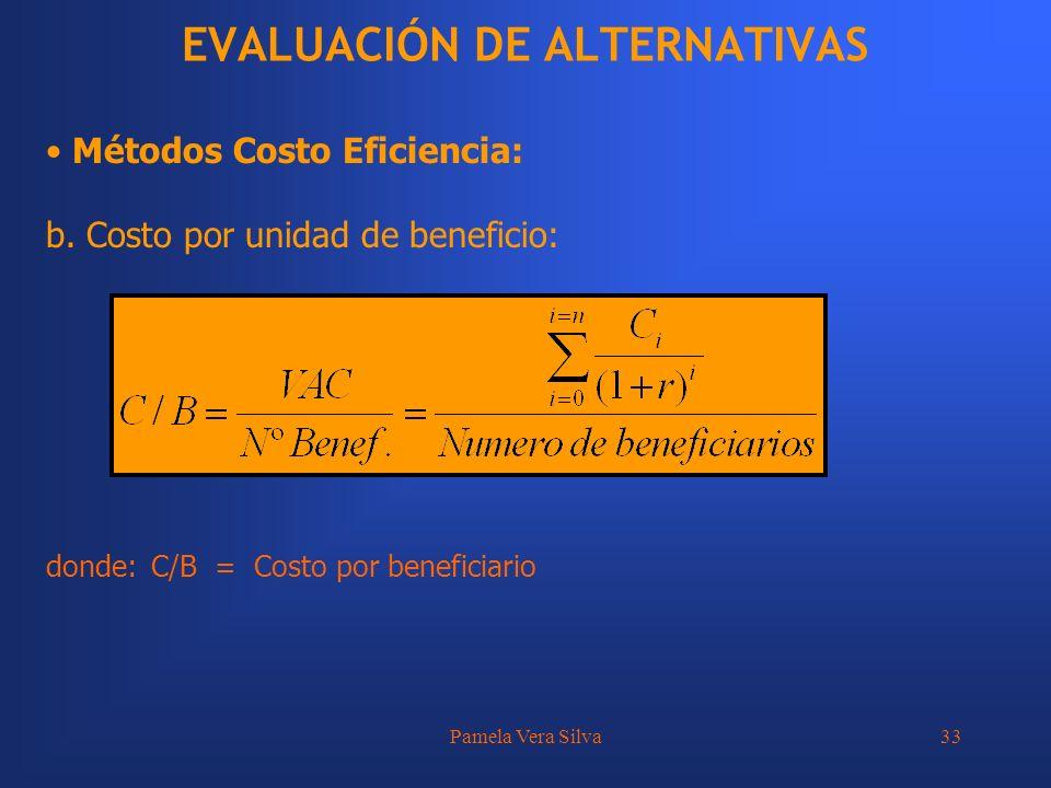 Pamela Vera Silva33 EVALUACIÓN DE ALTERNATIVAS Métodos Costo Eficiencia: b. Costo por unidad de beneficio: donde:C/B = Costo por beneficiario