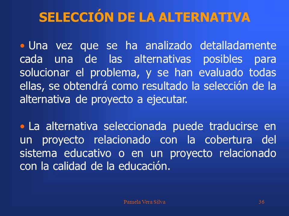 Pamela Vera Silva36 SELECCIÓN DE LA ALTERNATIVA Una vez que se ha analizado detalladamente cada una de las alternativas posibles para solucionar el pr