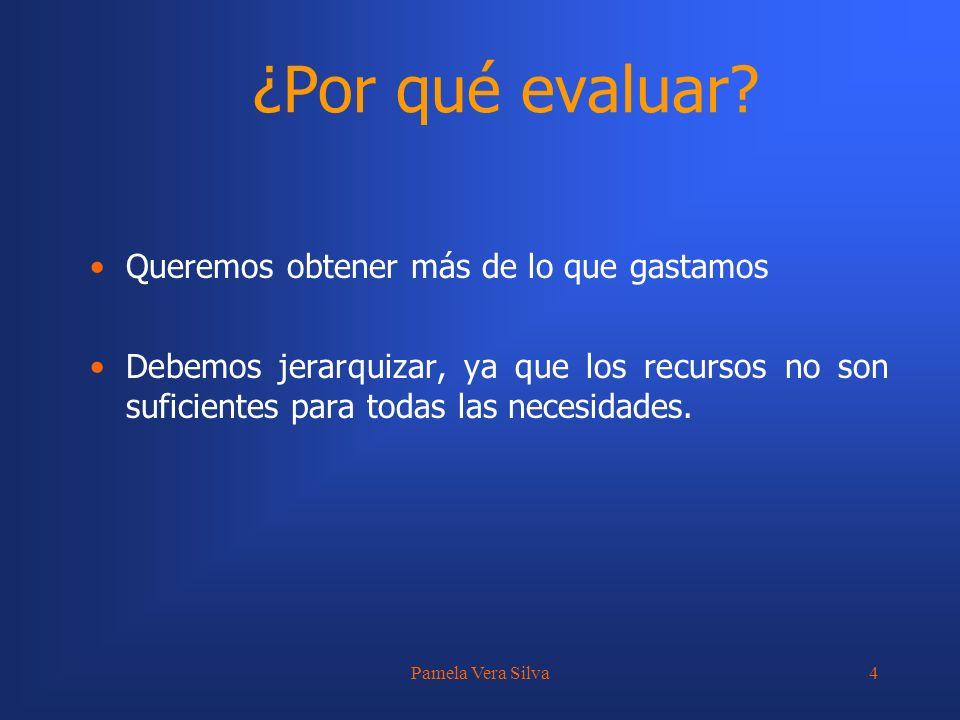 Pamela Vera Silva25 ANÁLISIS DE ALTERNATIVAS Sin embargo, muchas veces es difícil identificar todos los beneficios que un proyecto generará y más difícil aún es la cuantificación y valoración de dichos beneficios.