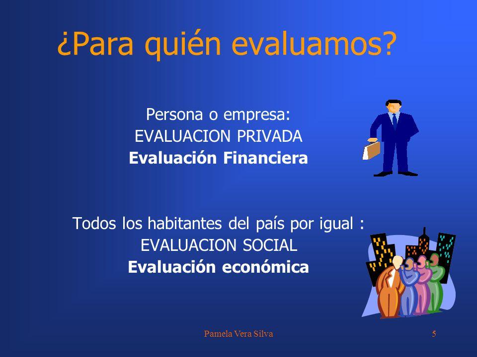 Pamela Vera Silva5 ¿Para quién evaluamos? Persona o empresa: EVALUACION PRIVADA Evaluación Financiera Todos los habitantes del país por igual : EVALUA