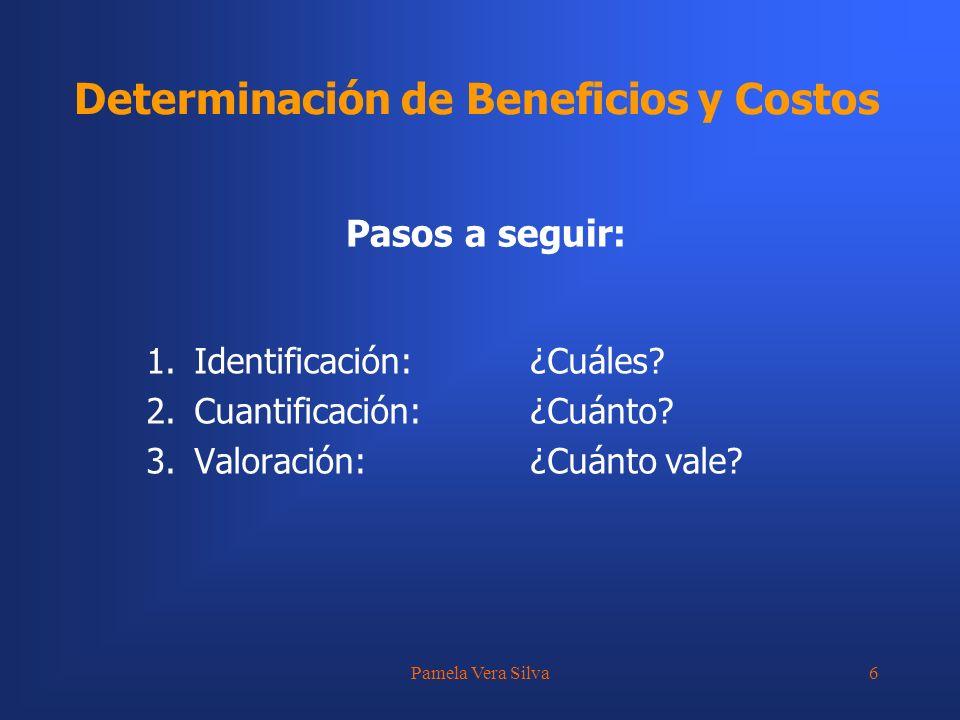 Pamela Vera Silva6 Determinación de Beneficios y Costos Pasos a seguir: 1.Identificación:¿Cuáles? 2.Cuantificación:¿Cuánto? 3.Valoración:¿Cuánto vale?