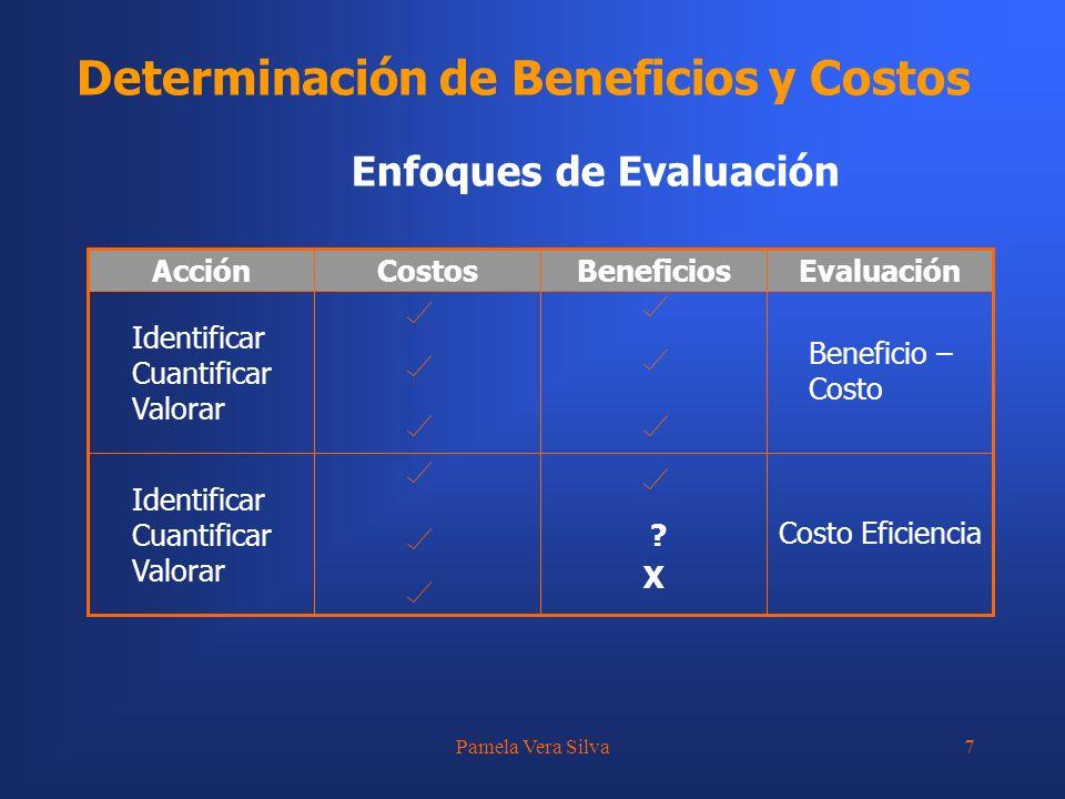 Pamela Vera Silva7 Determinación de Beneficios y Costos Enfoques de Evaluación ?X ?X Identificar Cuantificar Valorar Identificar Cuantificar Valorar E