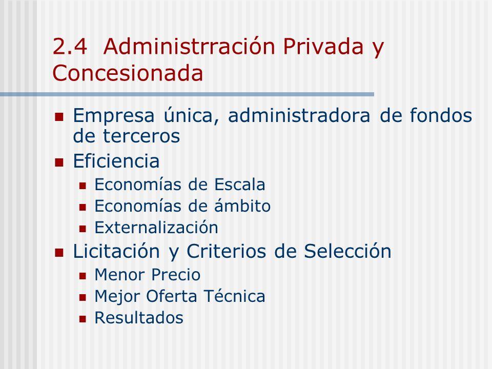 2.4 Administrración Privada y Concesionada Empresa única, administradora de fondos de terceros Eficiencia Economías de Escala Economías de ámbito Exte
