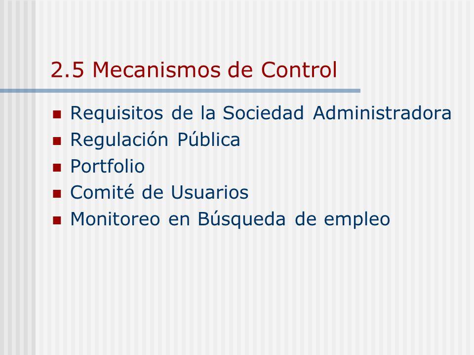2.5 Mecanismos de Control Requisitos de la Sociedad Administradora Regulación Pública Portfolio Comité de Usuarios Monitoreo en Búsqueda de empleo