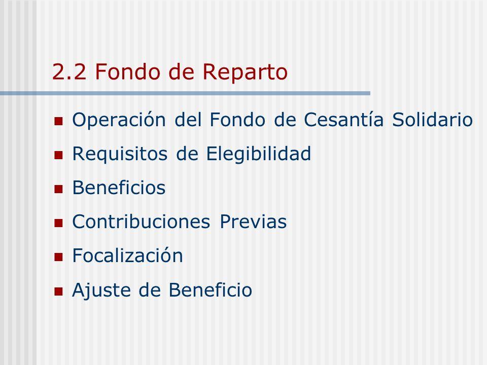 2.2 Fondo de Reparto Operación del Fondo de Cesantía Solidario Requisitos de Elegibilidad Beneficios Contribuciones Previas Focalización Ajuste de Ben