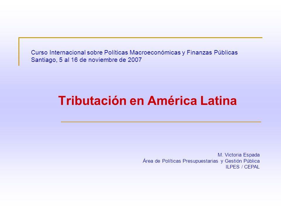 Curso Internacional sobre Políticas Macroeconómicas y Finanzas Públicas Santiago, 5 al 16 de noviembre de 2007 Tributación en América Latina M. Victor
