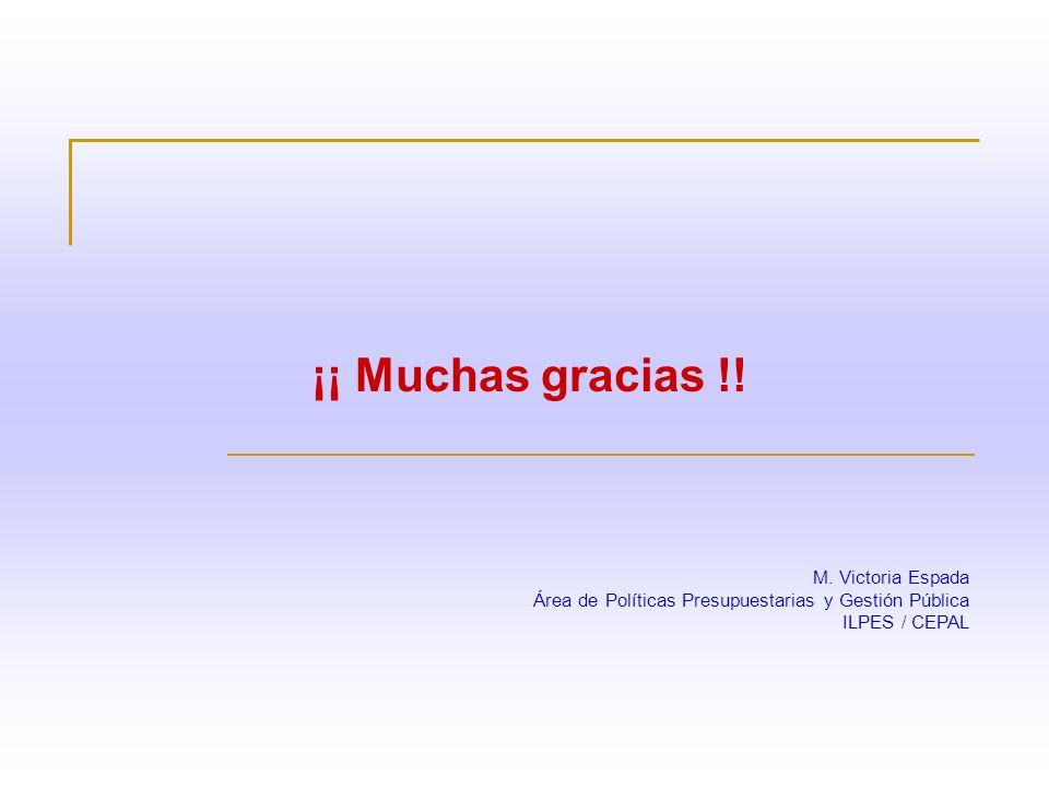 ¡¡ Muchas gracias !! M. Victoria Espada Área de Políticas Presupuestarias y Gestión Pública ILPES / CEPAL