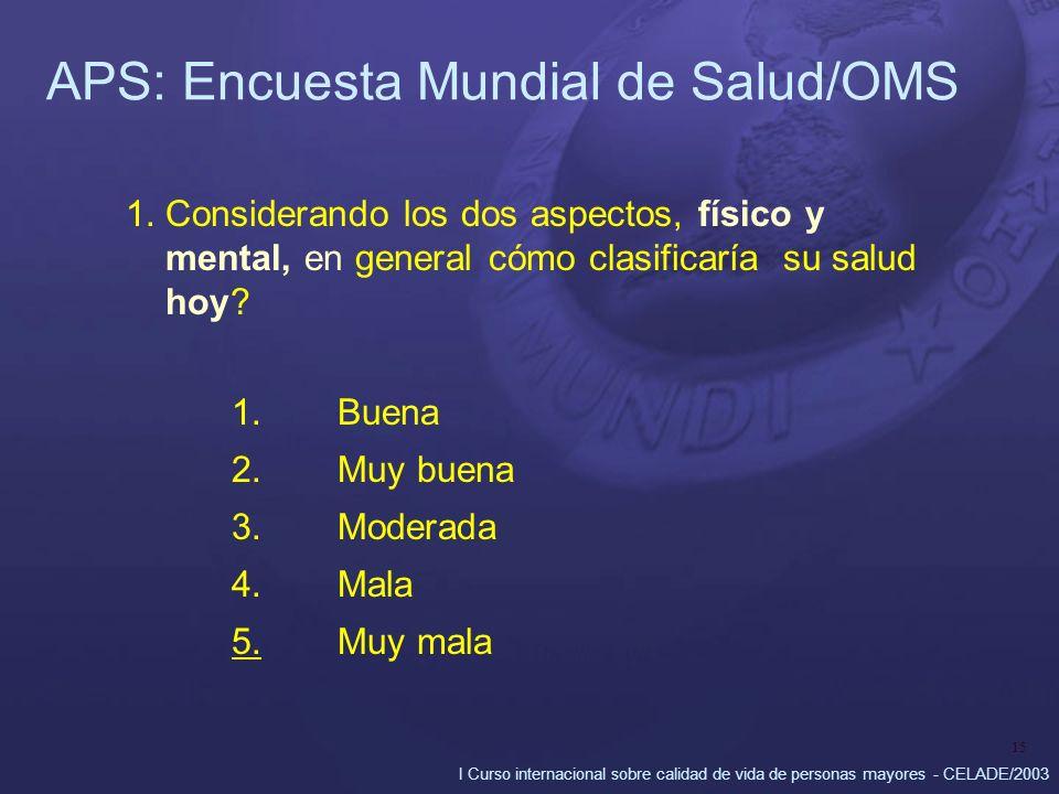 I Curso internacional sobre calidad de vida de personas mayores - CELADE/2003 15 APS: Encuesta Mundial de Salud/OMS 1.Considerando los dos aspectos, f