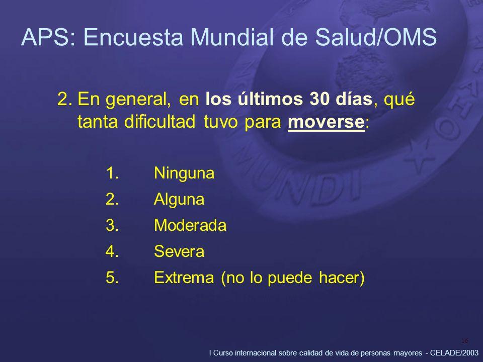 I Curso internacional sobre calidad de vida de personas mayores - CELADE/2003 16 APS: Encuesta Mundial de Salud/OMS 2.En general, en los últimos 30 días, qué tanta dificultad tuvo para moverse : 1.Ninguna 2.Alguna 3.Moderada 4.Severa 5.
