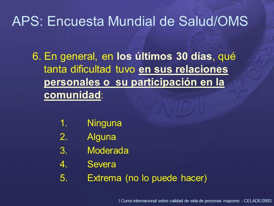 I Curso internacional sobre calidad de vida de personas mayores - CELADE/2003 20 APS: Encuesta Mundial de Salud/OMS 6. En general, en los últimos 30 d
