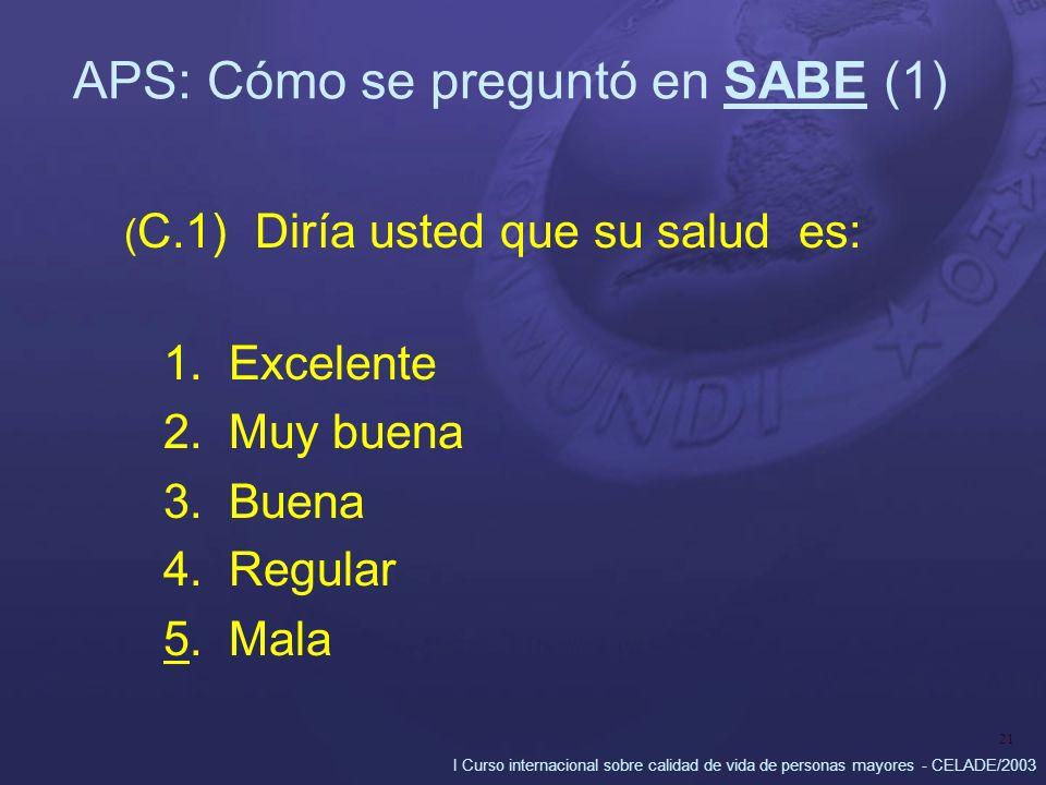 I Curso internacional sobre calidad de vida de personas mayores - CELADE/2003 21 APS: Cómo se preguntó en SABE (1) ( C.1) Diría usted que su salud es: 1.Excelente 2.Muy buena 3.Buena 4.Regular 5.