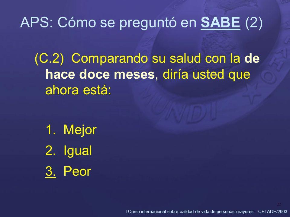 I Curso internacional sobre calidad de vida de personas mayores - CELADE/2003 22 APS: Cómo se preguntó en SABE (2) (C.2) Comparando su salud con la de hace doce meses, diría usted que ahora está: 1.Mejor 2.Igual 3.Peor