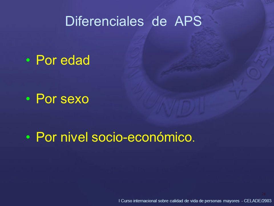 I Curso internacional sobre calidad de vida de personas mayores - CELADE/2003 26 Diferenciales de APS Por edad Por sexo Por nivel socio-económico.