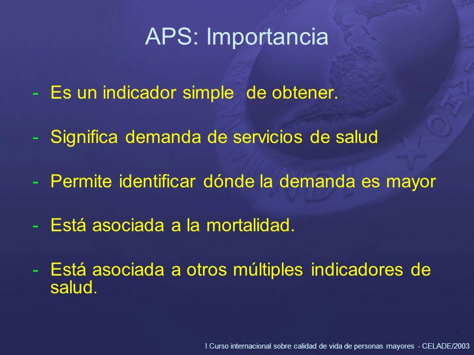 I Curso internacional sobre calidad de vida de personas mayores - CELADE/2003 7 APS: Importancia -Es un indicador simple de obtener. -Significa demand