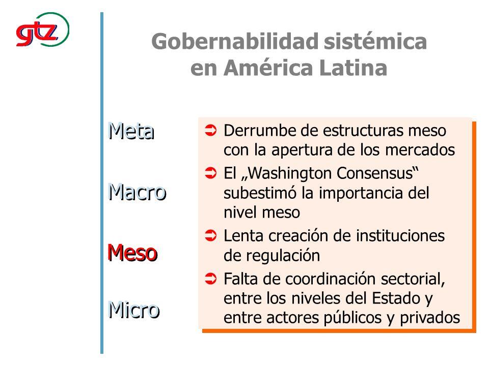 Gobernabilidad sistémica en América Latina Meta Macro Meso Micro Derrumbe de estructuras meso con la apertura de los mercados El Washington Consensus subestimó la importancia del nivel meso Lenta creación de instituciones de regulación Falta de coordinación sectorial, entre los niveles del Estado y entre actores públicos y privados Derrumbe de estructuras meso con la apertura de los mercados El Washington Consensus subestimó la importancia del nivel meso Lenta creación de instituciones de regulación Falta de coordinación sectorial, entre los niveles del Estado y entre actores públicos y privados