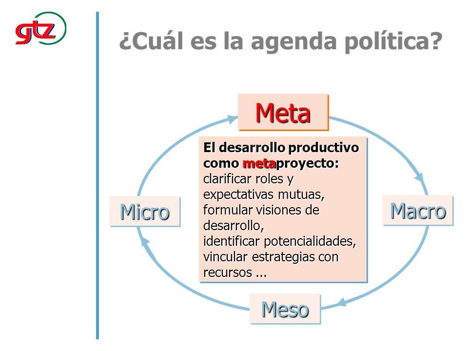 El desarrollo productivo como metaproyecto: clarificar roles y expectativas mutuas, formular visiones de desarrollo, identificar potencialidades, vincular estrategias con recursos...
