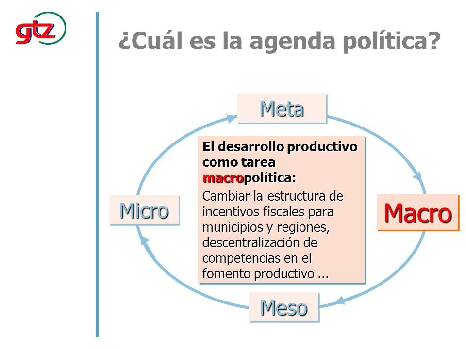 El desarrollo productivo como tarea macropolítica: Cambiar la estructura de incentivos fiscales para municipios y regiones, descentralización de competencias en el fomento productivo...