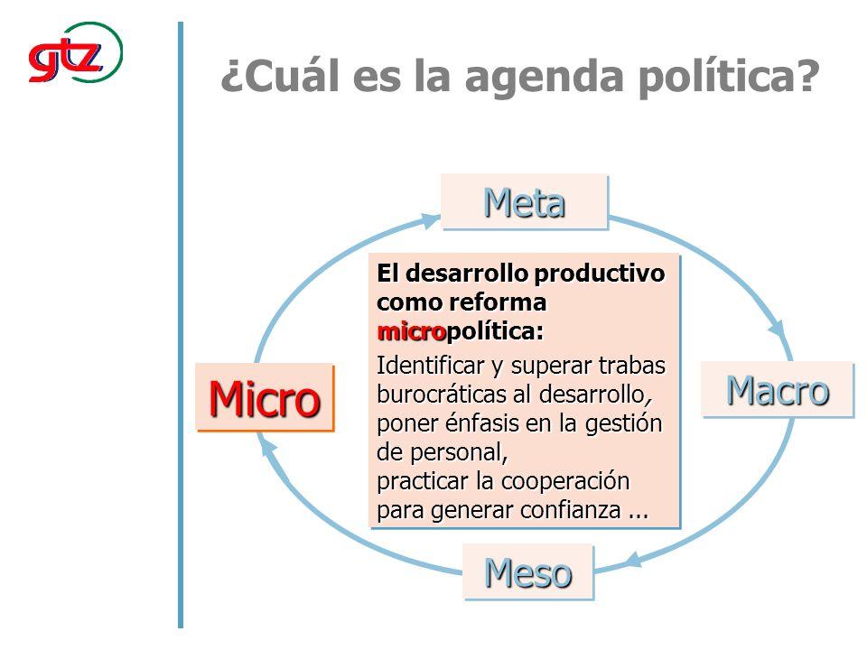 El desarrollo productivo como reforma micropolítica: Identificar y superar trabas burocráticas al desarrollo, poner énfasis en la gestión de personal, practicar la cooperación para generar confianza...