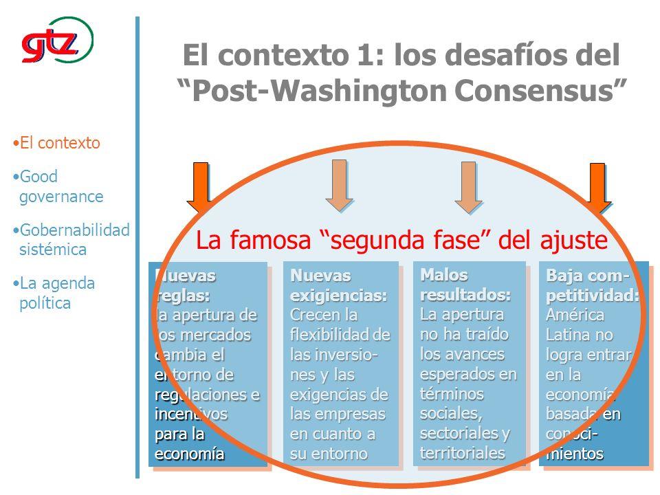El contexto 1: los desafíos del Post-Washington Consensus Nuevas exigiencias: Crecen la flexibilidad de las inversio- nes y las exigencias de las empresas en cuanto a su entorno Nuevas reglas: la apertura de los mercados cambia el entorno de regulaciones e incentivos para la economía Malos resultados: La apertura no ha traído los avances esperados en términos sociales, sectoriales y territoriales Baja com- petitividad: América Latina no logra entrar en la economía basada en conoci- mientos El contexto Good governance Gobernabilidad sistémica La agenda política La famosa segunda fase del ajuste