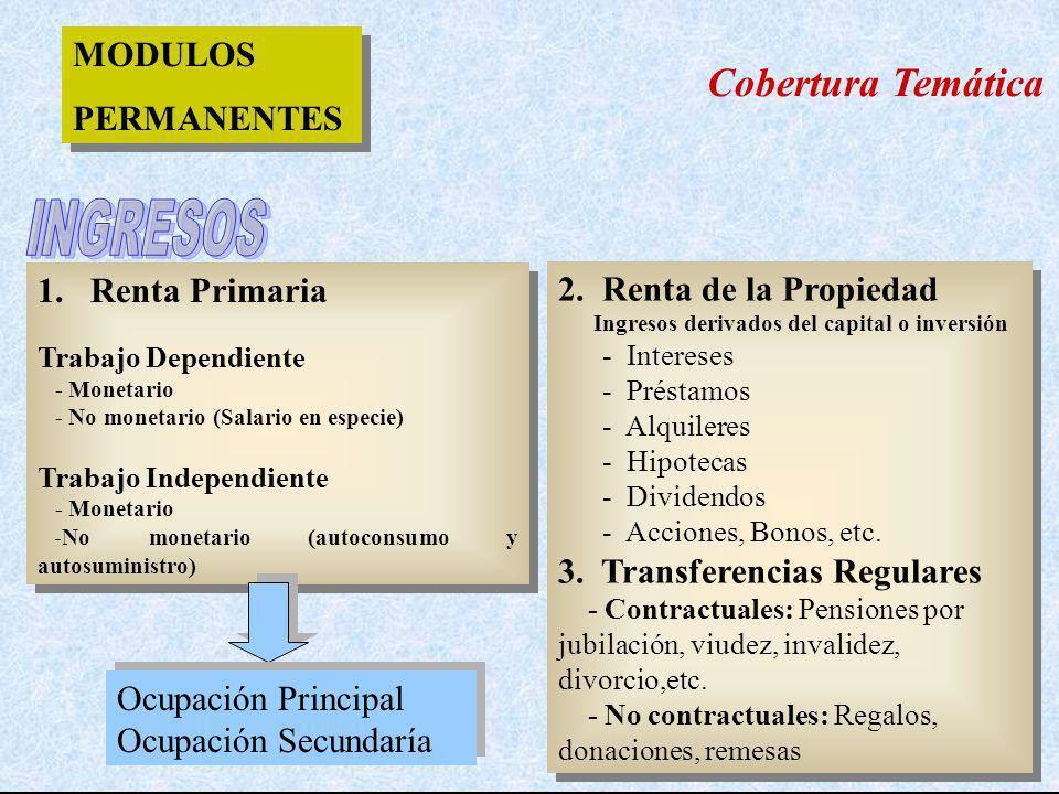 1. Renta Primaria Trabajo Dependiente - Monetario - No monetario (Salario en especie) Trabajo Independiente - Monetario -No monetario (autoconsumo y a