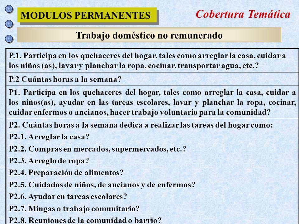 Trabajo doméstico no remunerado MODULOS PERMANENTES P.1. Participa en los quehaceres del hogar, tales como arreglar la casa, cuidar a los niños (as),