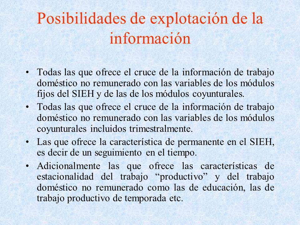 Posibilidades de explotación de la información Todas las que ofrece el cruce de la información de trabajo doméstico no remunerado con las variables de