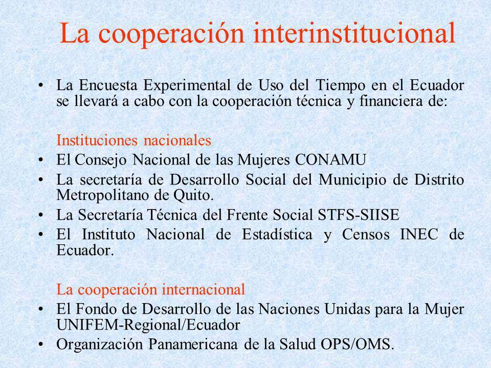 La cooperación interinstitucional La Encuesta Experimental de Uso del Tiempo en el Ecuador se llevará a cabo con la cooperación técnica y financiera d