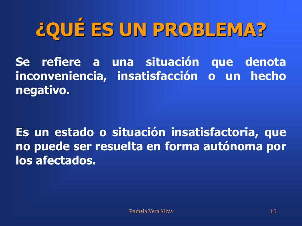 Pamela Vera Silva10 ¿QUÉ ES UN PROBLEMA? Se refiere a una situación que denota inconveniencia, insatisfacción o un hecho negativo. Es un estado o situ