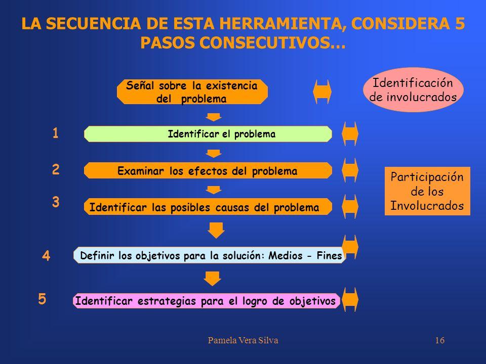 Pamela Vera Silva16 LA SECUENCIA DE ESTA HERRAMIENTA, CONSIDERA 5 PASOS CONSECUTIVOS… Examinar los efectos del problema 2 Identificar las posibles cau