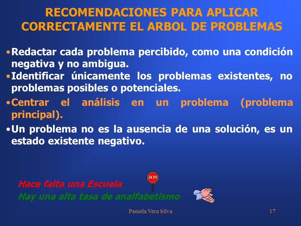 Pamela Vera Silva17 RECOMENDACIONES PARA APLICAR CORRECTAMENTE EL ARBOL DE PROBLEMAS Hay una alta tasa de analfabetismo Redactar cada problema percibi