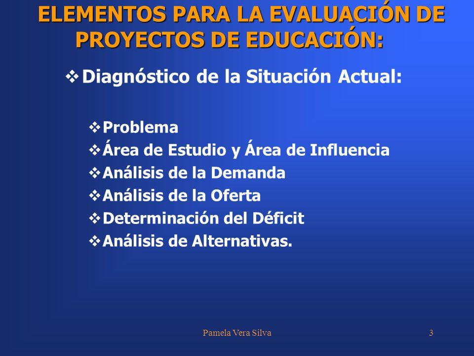 Pamela Vera Silva4 Evaluación y Selección de la Alternativa Óptima: Criterio de Evaluación Construcción de Flujos de Fondos Cálculo de Indicadores Seguimiento y Evaluación Ex Post.