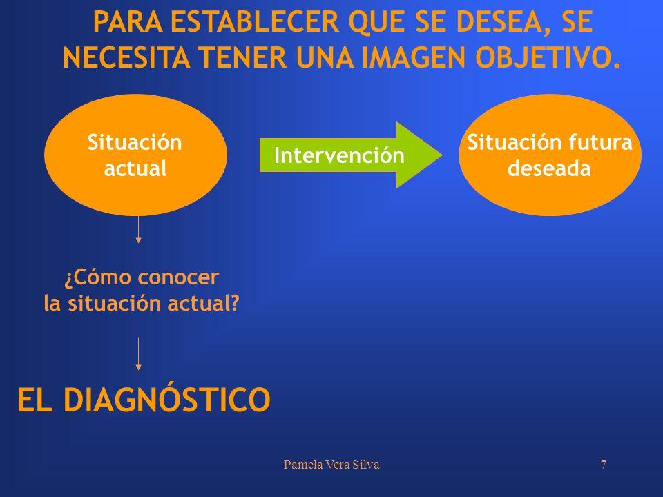 Pamela Vera Silva7 Situación actual Situación futura deseada Intervención ¿Cómo conocer la situación actual? EL DIAGNÓSTICO PARA ESTABLECER QUE SE DES