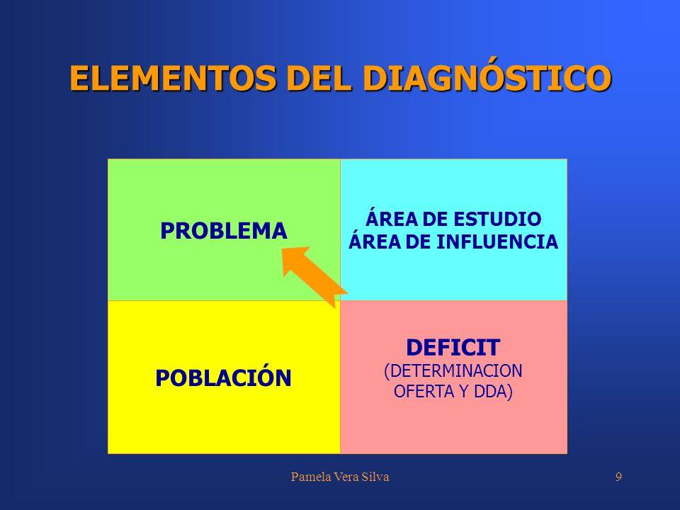 Pamela Vera Silva9 ELEMENTOS DEL DIAGNÓSTICO PROBLEMA ÁREA DE ESTUDIO ÁREA DE INFLUENCIA POBLACIÓN DEFICIT (DETERMINACION OFERTA Y DDA)
