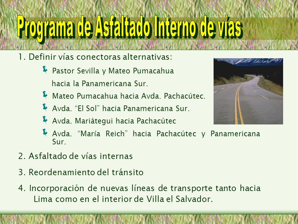 1. Definir vías conectoras alternativas: Pastor Sevilla y Mateo Pumacahua hacia la Panamericana Sur. Mateo Pumacahua hacia Avda. Pachacútec. Avda. El