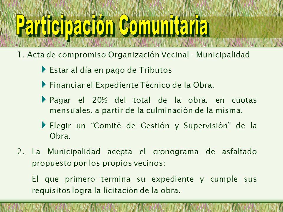 1. Acta de compromiso Organización Vecinal - Municipalidad Estar al día en pago de Tributos Financiar el Expediente Técnico de la Obra. Pagar el 20% d