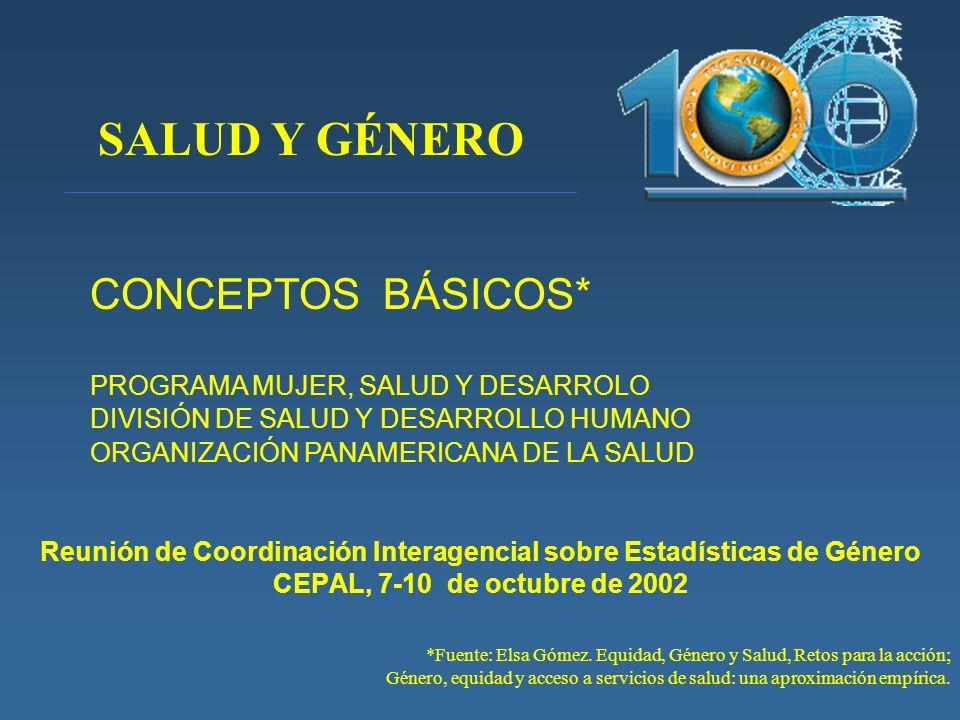 Reunión de Coordinación Interagencial sobre Estadísticas de Género CEPAL, 7-10 de octubre de 2002 *Fuente: Elsa Gómez. Equidad, Género y Salud, Retos