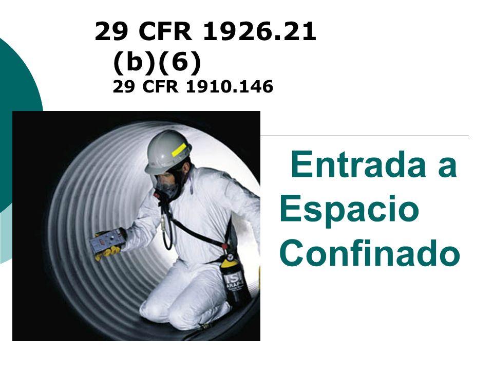 Entrada a Espacio Confinado 29 CFR 1926.21 (b)(6) 29 CFR 1910.146