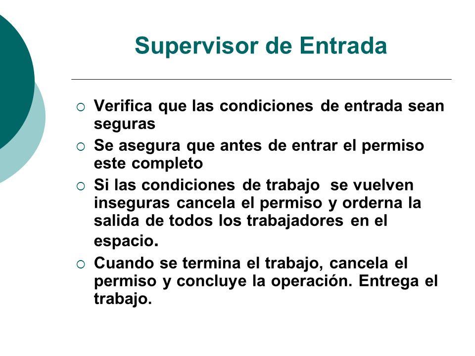 Supervisor de Entrada Verifica que las condiciones de entrada sean seguras Se asegura que antes de entrar el permiso este completo Si las condiciones