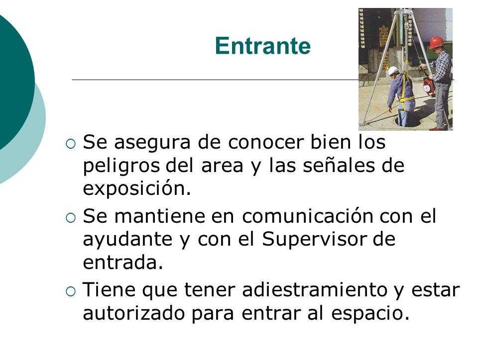 Entrante Se asegura de conocer bien los peligros del area y las señales de exposición. Se mantiene en comunicación con el ayudante y con el Supervisor