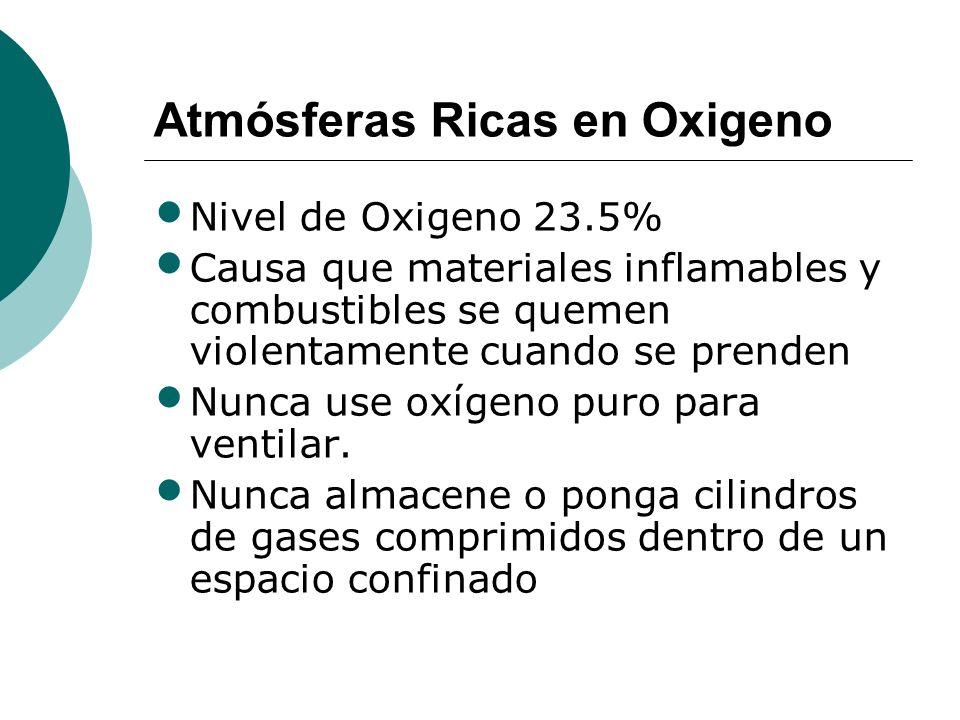 Atmósferas Ricas en Oxigeno Nivel de Oxigeno 23.5% Causa que materiales inflamables y combustibles se quemen violentamente cuando se prenden Nunca use oxígeno puro para ventilar.