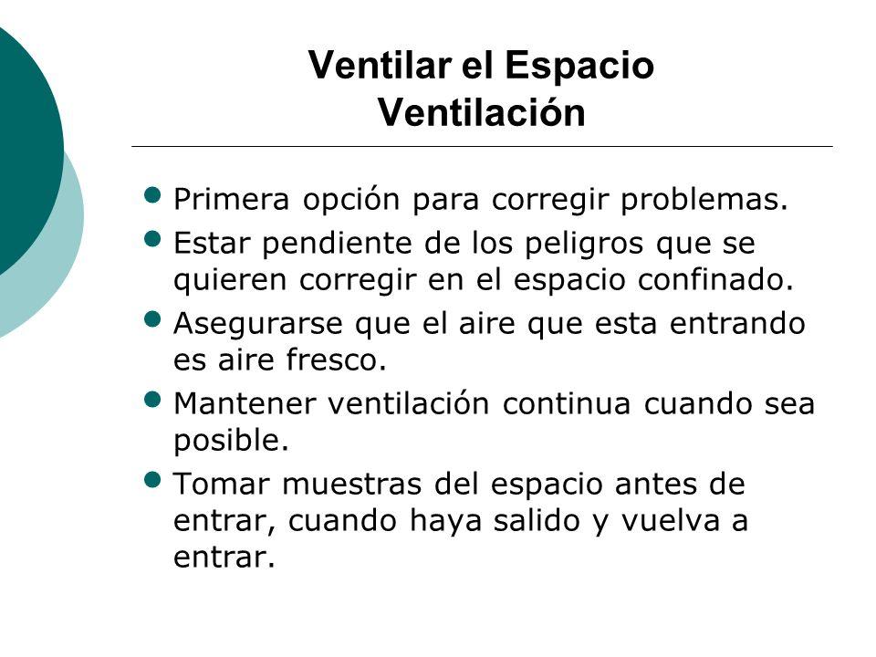 Ventilar el Espacio Ventilación Primera opción para corregir problemas. Estar pendiente de los peligros que se quieren corregir en el espacio confinad