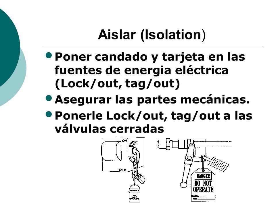 Aislar (Isolation) Poner candado y tarjeta en las fuentes de energia eléctrica (Lock/out, tag/out) Asegurar las partes mecánicas.