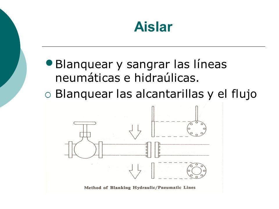 Aislar Blanquear y sangrar las líneas neumáticas e hidraúlicas. Blanquear las alcantarillas y el flujo de agua