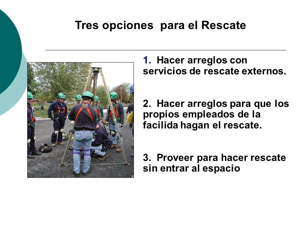 Tres opciones para el Rescate 1. Hacer arreglos con servicios de rescate externos. 2. Hacer arreglos para que los propios empleados de la facilida hag