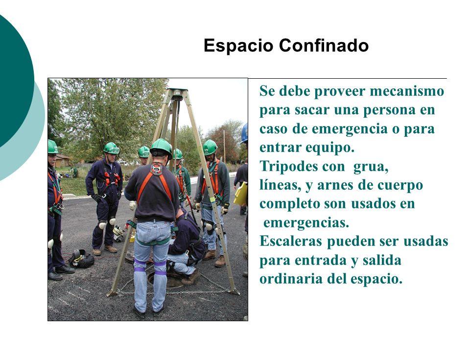 Espacio Confinado Se debe proveer mecanismo para sacar una persona en caso de emergencia o para entrar equipo. Tripodes con grua, líneas, y arnes de c