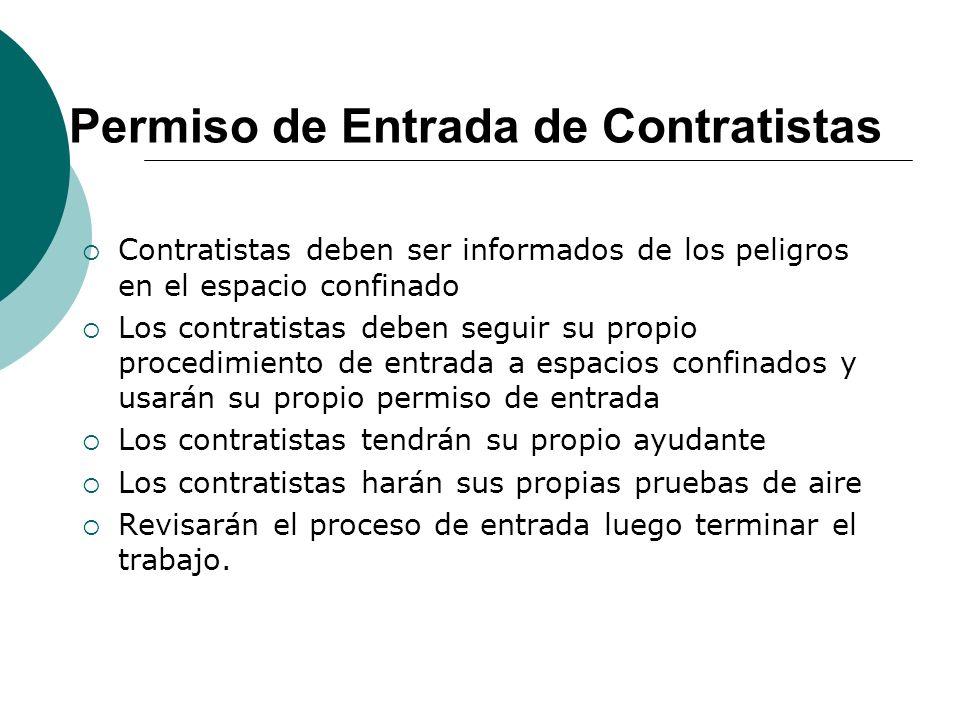 Permiso de Entrada de Contratistas Contratistas deben ser informados de los peligros en el espacio confinado Los contratistas deben seguir su propio p