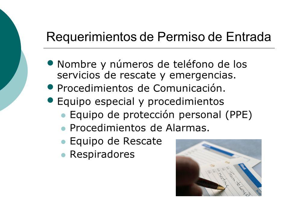 Requerimientos de Permiso de Entrada Nombre y números de teléfono de los servicios de rescate y emergencias. Procedimientos de Comunicación. Equipo es