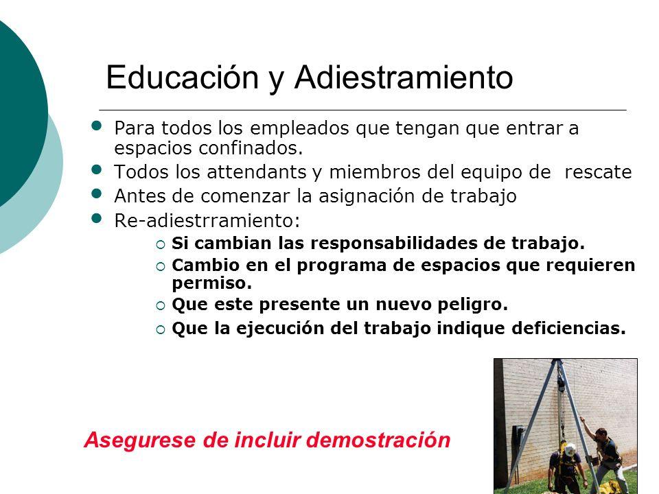 Educación y Adiestramiento Para todos los empleados que tengan que entrar a espacios confinados.